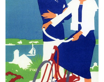 Vintage Bermuda Poster, Somers Isles, Atlantic Island, Vintage Travel Poster