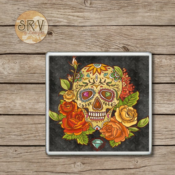 On Sale Sugar Skull And Roses Drink Coasters Day By -6477