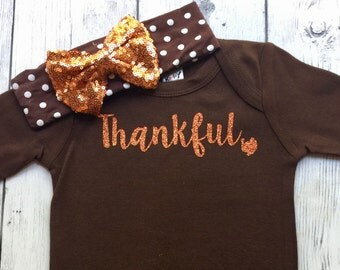 Baby Girl Thanksgiving Outfit, 1st Thanksgiving Outfit, Thankful Thannksgiving Outfit, Brown Thanksgiving Set, Girls Thanksgiving Outfit Set