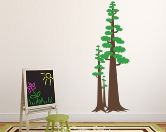 Pine Tree Decal Forest Pine Trees Decal Sequoia Wall Decal Tall Tree Decal Large Pine Tree Decal Park Decal Forestry Decal Redwood Decal