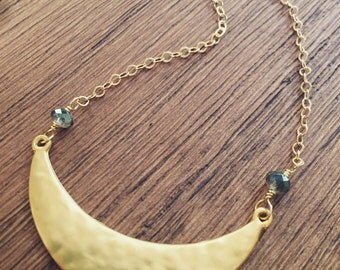Gold moon necklace, cresent moon necklace, half moon necklace