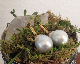 South Sea Pearl Earrings with 18K Yellow Gold and Emearld