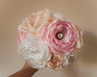 Fabric Wedding Bouquet, romantic pastel