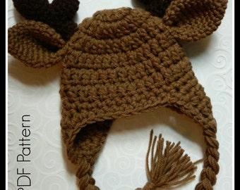 Crochet Moose Antler Hat {PDF PATTERN ONLY}