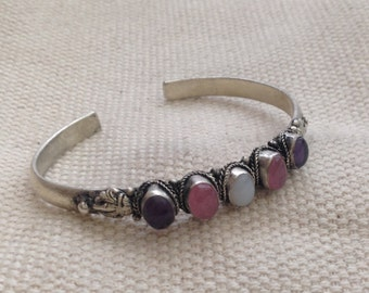Ethnic Moonstone Pinkstone Amethyst Fivestone Cuff Bracelet