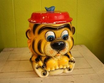 1960's Vintage Tiger Cookie Jar Canister with Lid