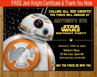 BB8 Invitation, Star Wars Invitation, Star Wars The Force Awakens Invitation, Star Wars Party Invitations, Free Thank You Note Jedi Knight