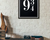 Platform 9 3/4 Harry Potter Decor Typographic Print