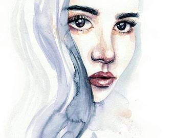 Watercolor Portrait Painting - Fine Art Print by Emily Luella
