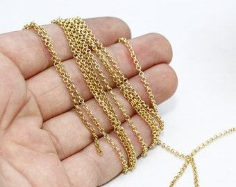 9,9 Feet 2mm Raw Brass Rolo Chain , Soldered Rolo Chain , Box Chains, Raw Brass Chains, Rollo , Cable Chain, rbb, THE93