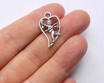 40 Cupid Charms - Valentine Day Pendants - Heart Charms - #S0163