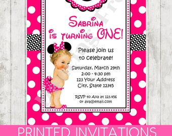 Brunette, Blonde or Red Head - 1st Birthday - Minnie Birthday Invitation - Printed Minnie Birthday Invitation by Dancing Frog Invitations