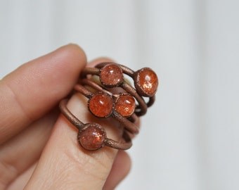 size US SUNSTONE COPPER ring,raw jewelry,copper ring,natural ring,dainty ring,stacking ring,wedding ring,tiny ring,copper electroformed