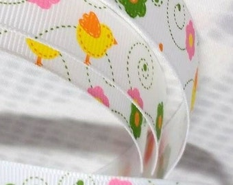 1 Metre Multi Coloured Flowers and Chicks Printed on White Grosgrain Ribbon