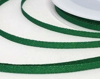 By the metre Woven Green Glitter Ribbon 3 mm, Glitter Ribbon, Green Glitter Ribbon, 3 mm Ribbon Woven Ribbon 3 mm Sewing Crafting Cardmaking
