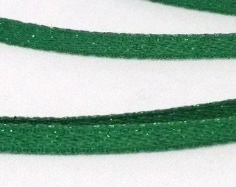 1 metre Woven Green Glitter Ribbon 3 mm, Glitter Ribbon, Green Glitter Ribbon, 3 mm Ribbon, Woven Ribbon 3 mm