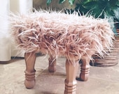 Rosy Metallic Rose Gold Faux Fur Stool, Metallic Rose Gold Wood Legs, Foot Stool Accent Piece, Regency Modern Foot Stool