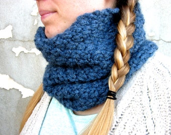 Hand-Knitted Storm Blue Cowl Snood