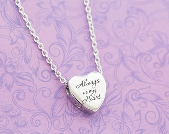 Silver Stainless Heart Memorial Pendant - Cremation Jewelry - Engraved Jewelry - Urn Necklace - Pet Memorial - Ash Necklace - Heart Urn