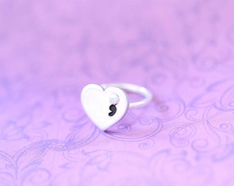 Sterling Silver and Pewter and Swarovski Ring  - Project Semicolon - My Story Isn't Over Yet ; - Semicolon Project