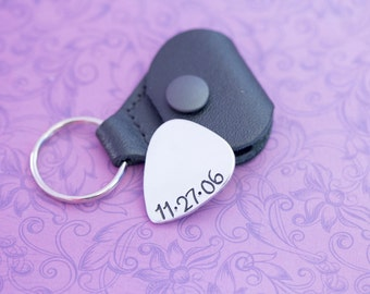 Engraved Guitar Pick Keychain - I Pick You - Guitar Pick - Gift for Him - Engraved Jewelry - Wedding Date - Anniversary