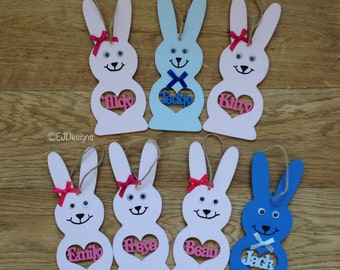 Personalised hanging rabbit, party bag gift, birthday party