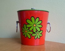 Vintage Retro Ice bucket  Encino Nasco Japan Red Daisy 1960s 1970s Retro Flower Power