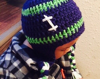 Seahawks crochet beanie