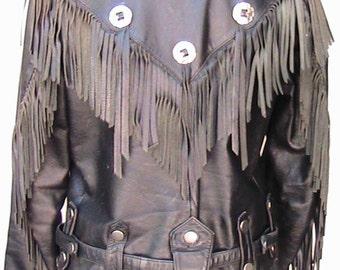 Vintage WILSONS Western Leather Jacket with Fringes