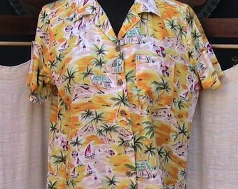 Vintage 1990s GLORIA VANDERBILT Tropical Blouse Size Small