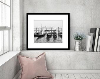 Venice Italy Print, Black and White Photography, Gondola Boats, Travel Photography, Venice Wall Art, Fine Art Print, Europe, Travel Decor