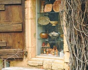 France Photography, Rustic Wall Art, Shop window, Provence, European Village, Europe, Travel photo, Fine Art Print, ochre, burnt orange