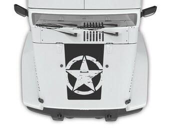 Jeep Wrangler JK 07-15 Oscar Mike Hood Blackout Army Star Decal 3M Matte Black