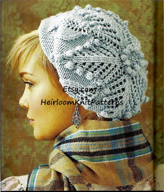 Ladies Lace & Bobble Beret Womens Hat Knitting Pattern DK/