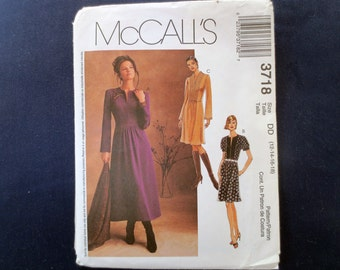Gathered Dress Uncut Pattern, McCalls 3718, Size 12, 14, Plus Size 16, 18
