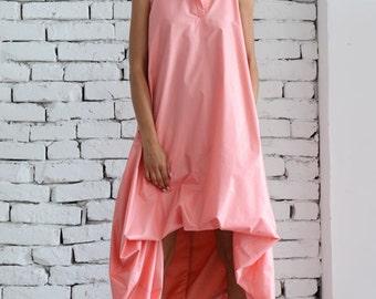 Maxi Dress/Asymmetric Loose Dress/Pink Kaftan/Extravagant Long Tunic/Pink Maxi Dress/Plus Size Maxi Dress/Pink Oversize Tunic/Sleeveless Top