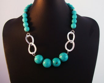 Semi precious turquoise statement necklace