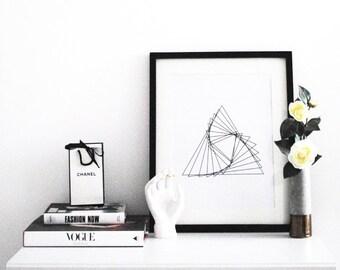 Scandinavian print, Minimalist abstract art, Monochrome print, Triangle art, Abstract, Black & white prints, Modern art, Home decor