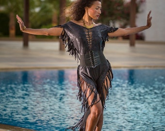 Fringes dress AURA for woman ripped and braided by Ça Déchire -  - Festival - Burning Man