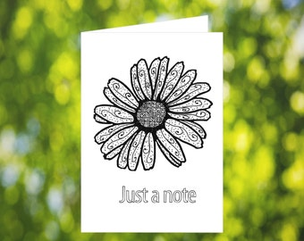 Flower Just a Note Card: Printable Zentangle Card - Flower Thinking of You Card - Coloring Note Card - Zentangle Card - Printable Card
