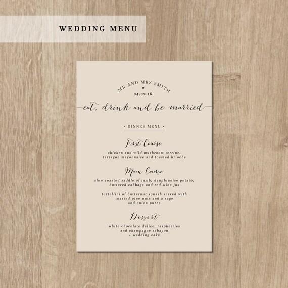 Printable Wedding Dinner Menu DIY Wedding By DarlingPaperCompany