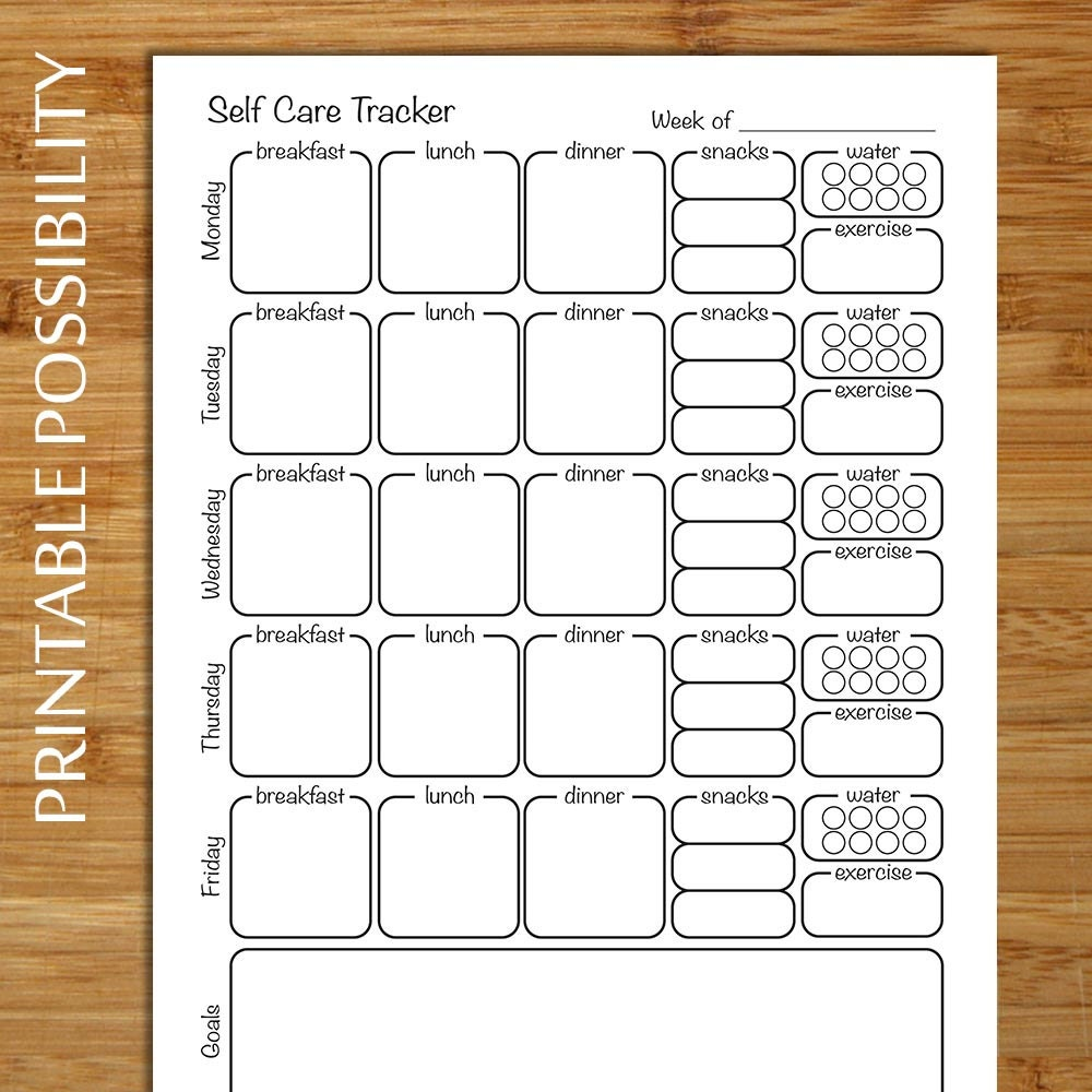 Self care tracker – Self Care Worksheets