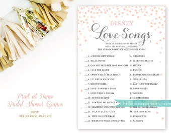 Pink and Silver Bridal Shower Games . Disney Love Songs Bridal Shower Game . Printable Instant Download . Silver Glitter Pink Hearts