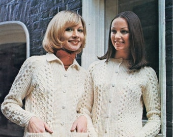 womens aran cardigans knitting pattern pdf ladies cable jacket with collar 1970s 34-44 inch DK womens knitting pattern pdf instant download