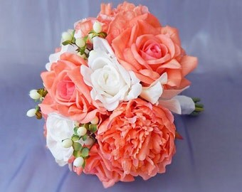Peach/coral/orange, ivory, bouquet, peony/peonies, roses, orchids, berries, Real Touch flowers, silk, wedding