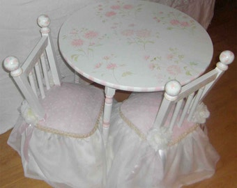 girls table and chair, table and chair sets, hand painted child's table set, princess table and chairs