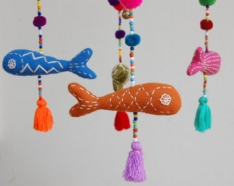 Colorful Hand Embroidered Ocean Fish Baby Mobile - Lime Green Frame