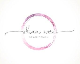 Logo Design Branding Package Premade Graphics Custom Text Zen Pink Purple Watercolor Circle