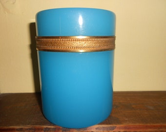 Blue opaline glass box/Jewellery box/Blue opaline trinket
