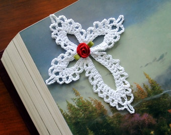 """Small crochet cross, white, lace, red flower, 4 1/2"""""""